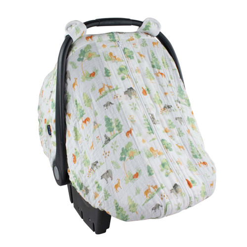 Muslin Car Seat Cover, Forest Friends