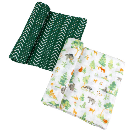 Muslin Swaddle Set, Forest Friends/Mudcloth