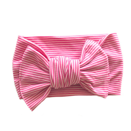 Butter Knot Bow, Pink Stripe