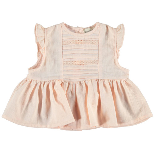 Romantic Sleeveless Shirt with Laces, Salmon