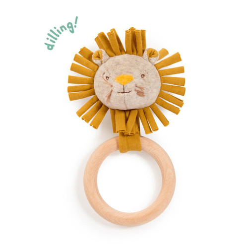Wooden Lion Ring Rattle