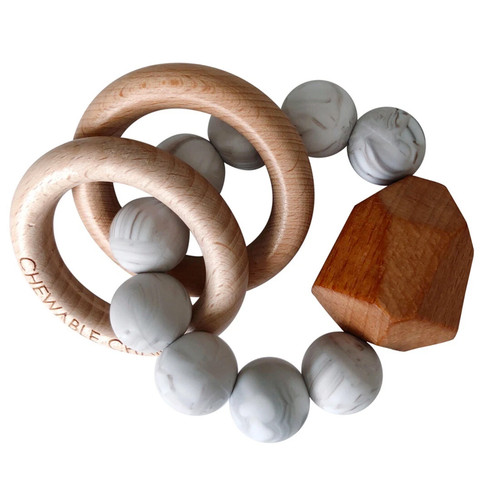 Hayes Silicone + Wood Teether, Howlite