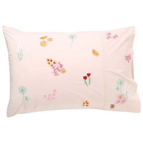 Single Pillowcase, Embroidered Wildflower