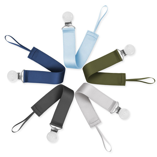 5-Pack Polyester Pacifier Clips, Boys