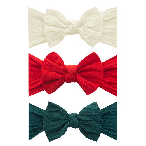 3-Pack Bow Set, Ivory, Cherry, Forest Green