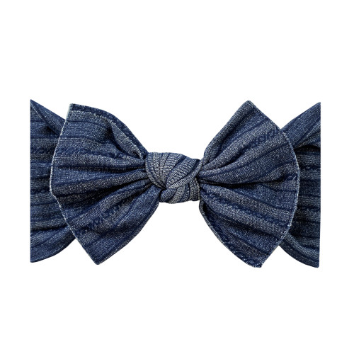Cable Knit Knot Bow, Denim