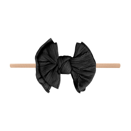 Cable Knit Lil FAB Skinny Bow, Black