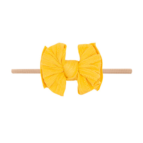 Cable Knit Lil FAB Skinny Bow, Mustard