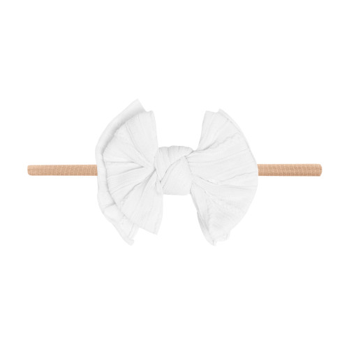 Cable Knit Lil FAB Skinny Bow, White
