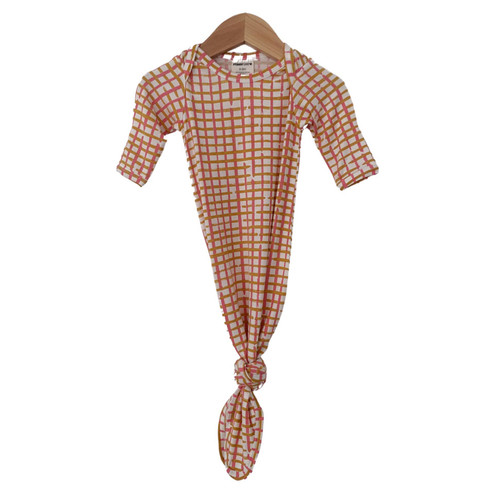 Knotted Gown, Pink Check