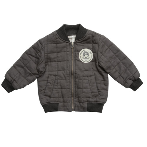 Rylee & Cru Quilted Bomber Jacket, Charcoal