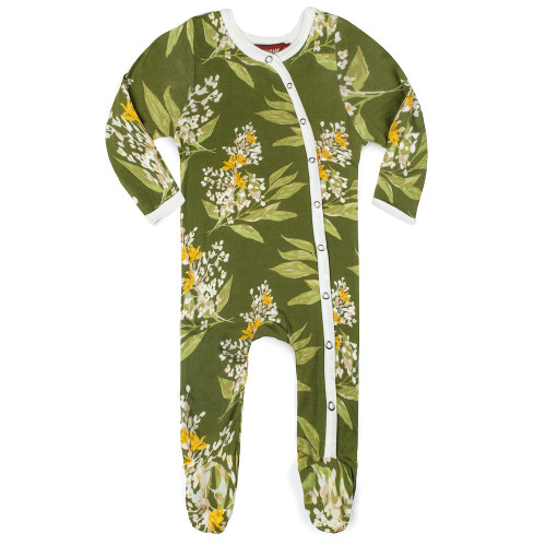 Bamboo Snap Footie, Green Floral