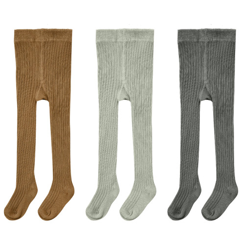 Rylee & Cru Ribbed Tights 3-Pack, Rust, Agave, Charcoal
