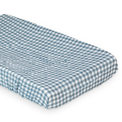 Muslin Changing Pad Cover, Navy Gingham
