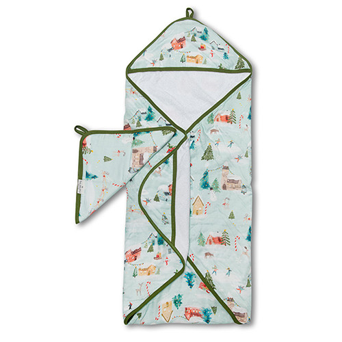 Terry Cloth & Bamboo Hooded Towel Set, Merry & Bright