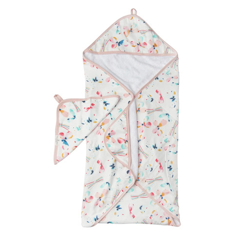 Terry Cloth & Bamboo Hooded Towel Set, Butterfly