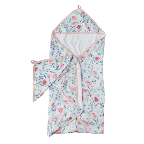 Terry Cloth & Bamboo Hooded Towel Set, Bluebell