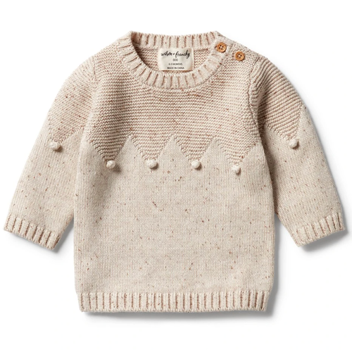 Knitted Sweater with Baubles, Oatmeal Fleck