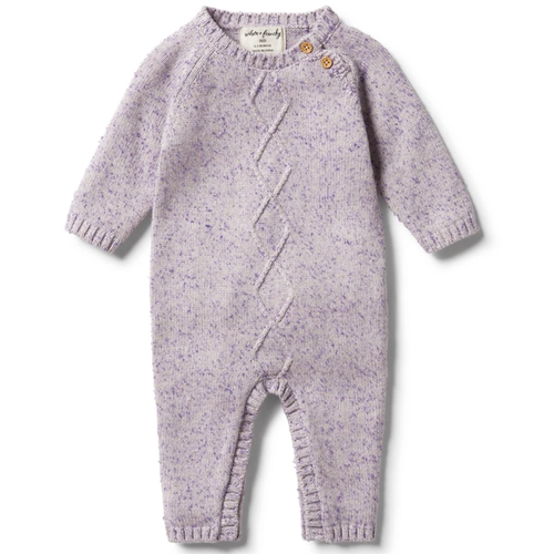 Knitted Cable Ruffle Growsuit, Royal Purple Fleck