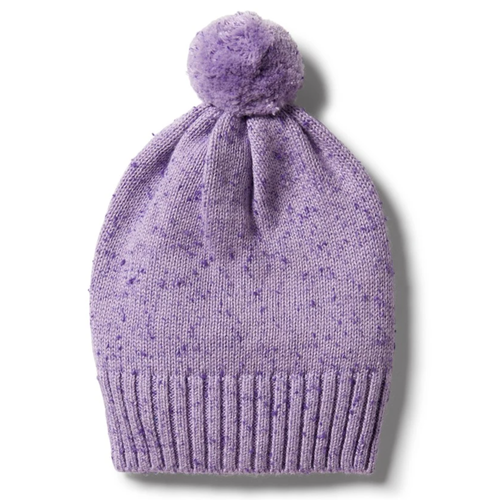Knitted Hat, Pastel Lilac Fleck