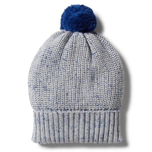 Knitted Hat, Navy Peony Fleck
