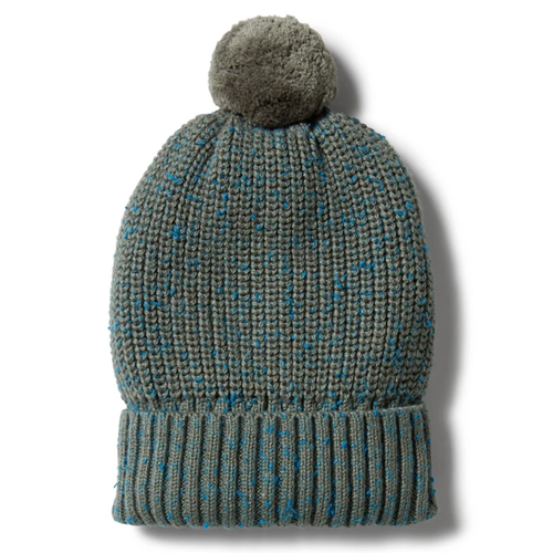 Knitted Hat, Dusty Olive Fleck