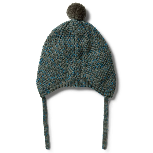 Knitted Cable Bonnet, Dusty Olive Fleck