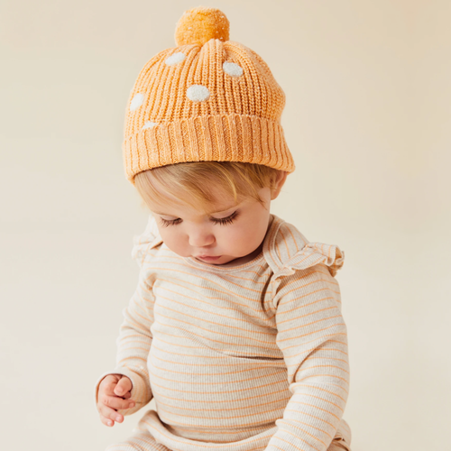Knitted Spot Hat, Apricot Fleck