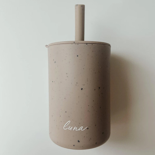 Silicone Straw Cup, Speckled Storm