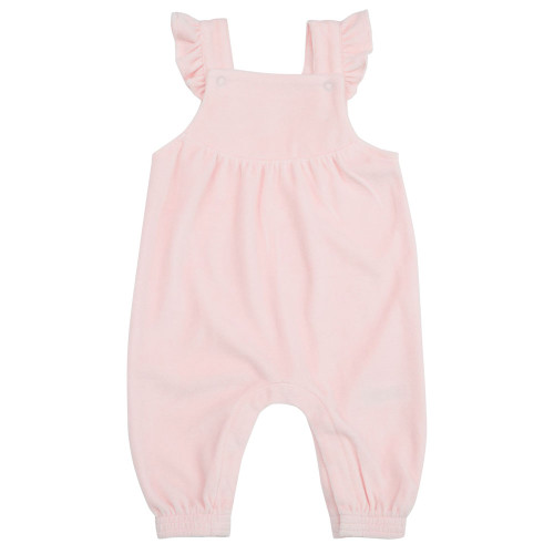 Ruffle Velour Overall, Pink