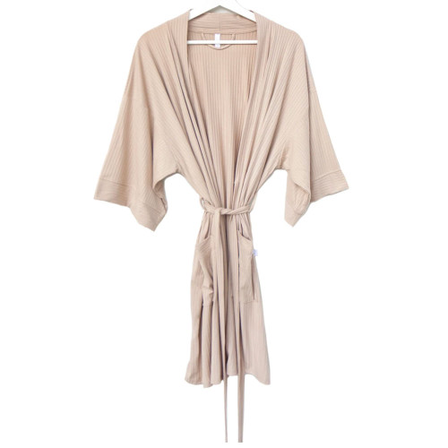 Lounging Robe / Taupe Ribbed