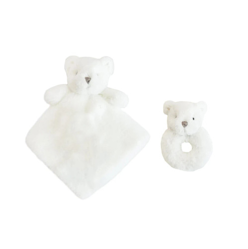 White Luxe Bear Lovie and Rattle Set