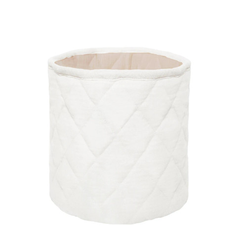 Quilted Muslin Bin Set of 2, Oatmeal/White