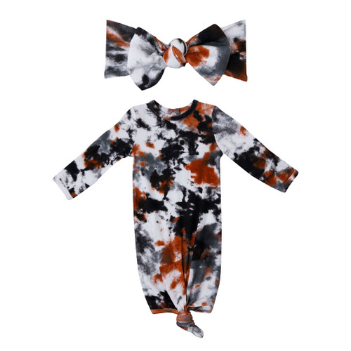 Knotted Gown & Bow Set, Crinkle Tie Dye Grey