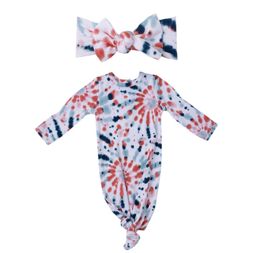 Knotted Gown & Bow Set, Desert Jewel Tie Dye