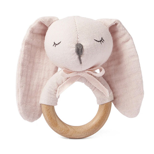 Pink Bunny Wooden Baby Rattle