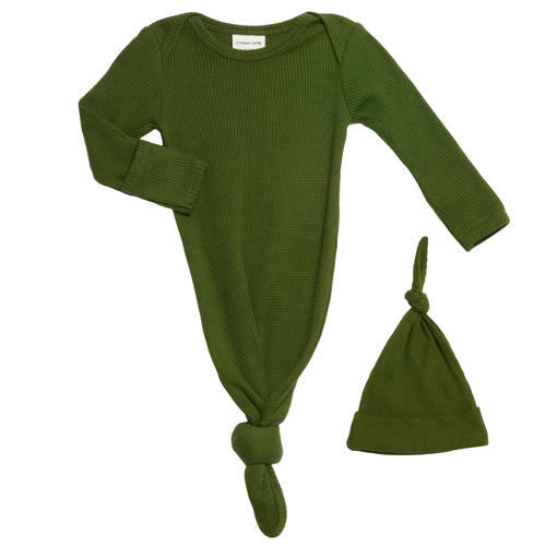 Organic Waffle Knotted Gown & Hat, Forest