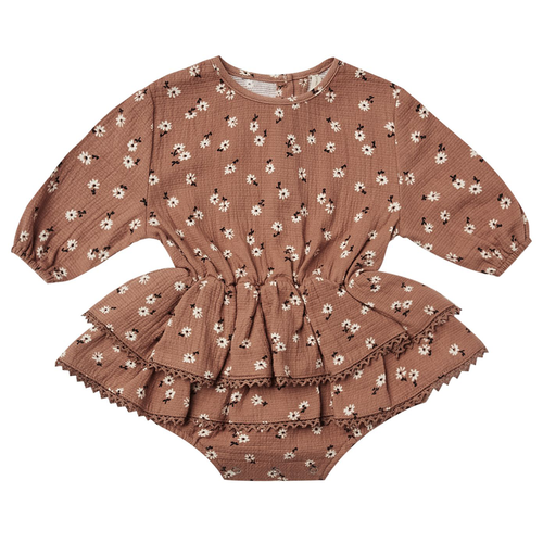 Organic Cotton Skirted Rosie Romper, Clay Ditsy