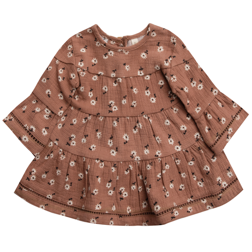 Organic Cotton Belle Dress, Clay Ditsy
