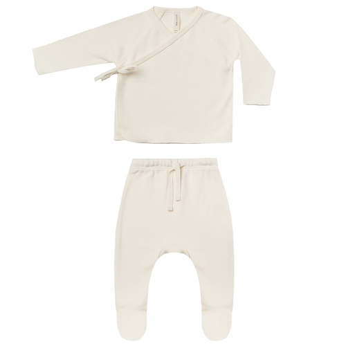Wrap Top & Footed Pant Set, Ivory