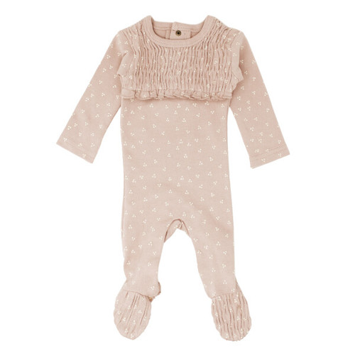 Organic Smocked Footie, Rosewater Dots