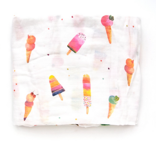 Luxe Muslin Swaddle, Ice Cream Sherbet