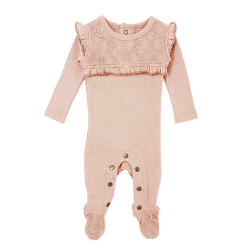 Organic Lace Footie, Rosewater
