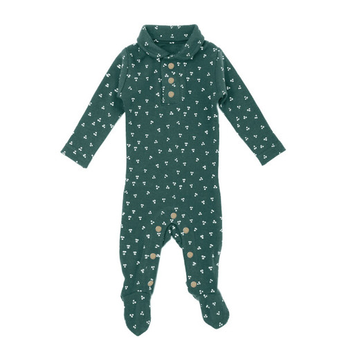 Organic Polo Footie, Spruce Dots