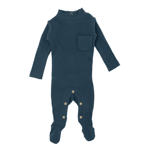 Organic Mock-Neck Footie, Abyss