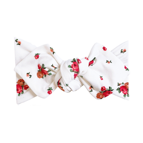 Top Knot Headband, White Vintage Floral