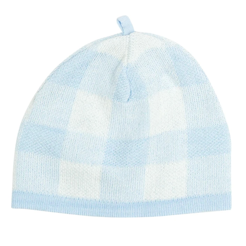 Knit Gingham Baby Beanie, Blue