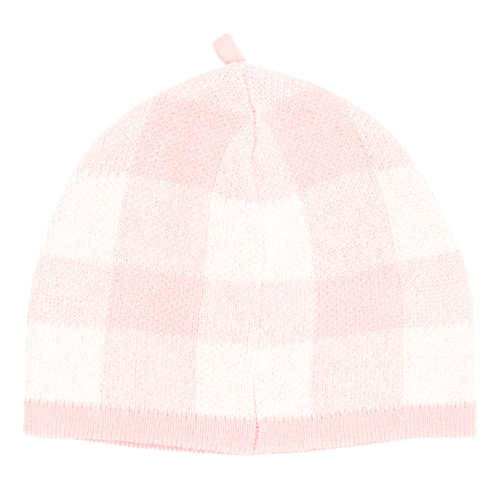 Knit Gingham Baby Beanie, Pink