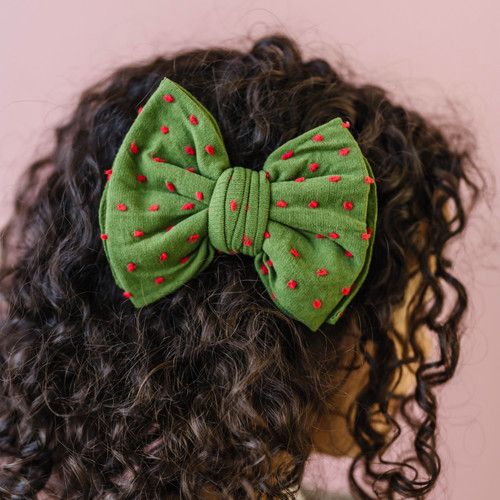 Shabby Classic Bow Clip, Hunter/Red Dot