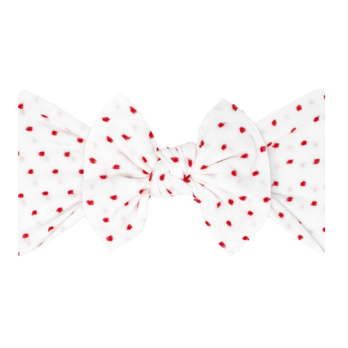 Shabby Knot Bow, White/Red Dot